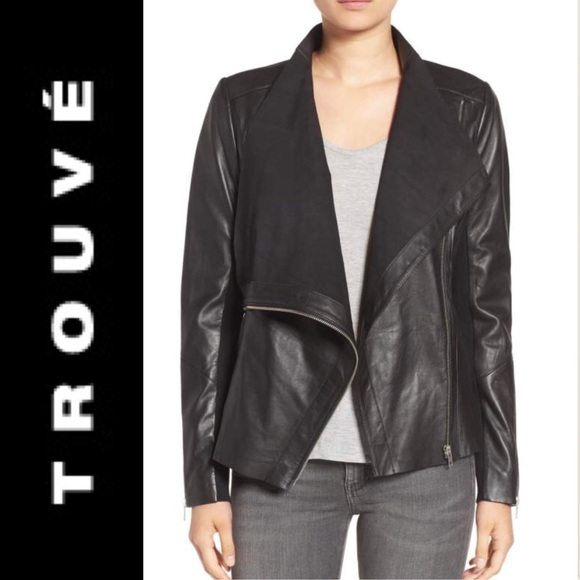 Trouve Jackets & Blazers - Trouvé Drape Front Raw Edge Leather Jacket szS NWT